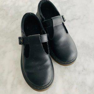 "Girls Dr. Martens ""Polley"" T-Strap Shoes Black 2"